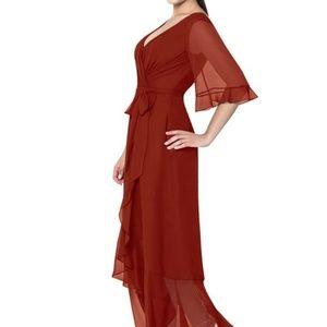 Elegant Rust Colored Bridesmaid Formal Dress